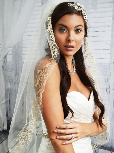 Gold Embroidered Lace Veil - Ansonia Bridal Veils, 745