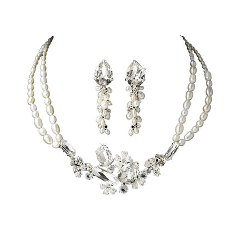 Freshwater Pearl and Crystal Bridal Jewelry Set - Distinctive Veils & Accessories