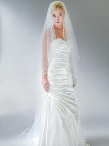Beaded Edge Veil with Triple Beaded Border - Distinctive Veils & Accessories