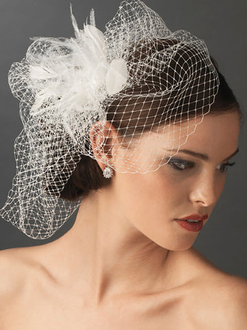 Birdcage Veil with Feather Accent - Distinctive Veils & Accessories