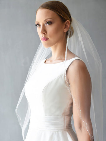 Silver Scallop Wedding Veil with Pearls and Rhinestones - Distinctive Veils & Accessories