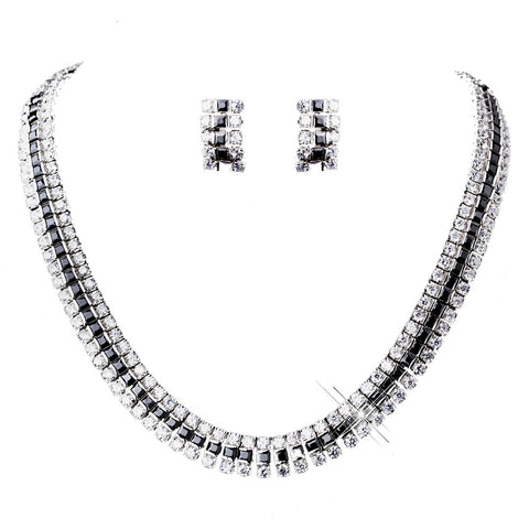 CZ Clear and Black Wedding Necklace Set - Distinctive Veils & Accessories