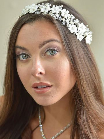 Beaded Flower Bridal Headband