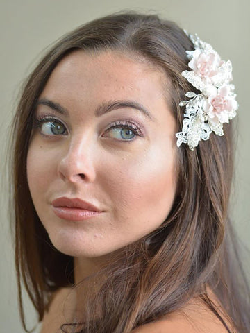 Blush Flower Bridal Hair Comb