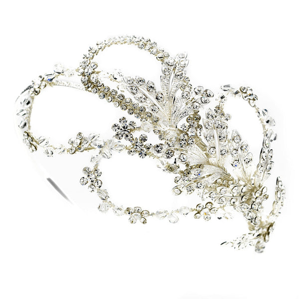 Rhinestone and Crystal Side Accented Bridal Headband - Distinctive Veils & Accessories