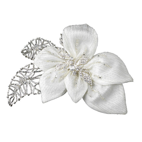 Ivory Beaded Fabric Flower Hair Clip with Rhinestones Accent - Distinctive Veils & Accessories