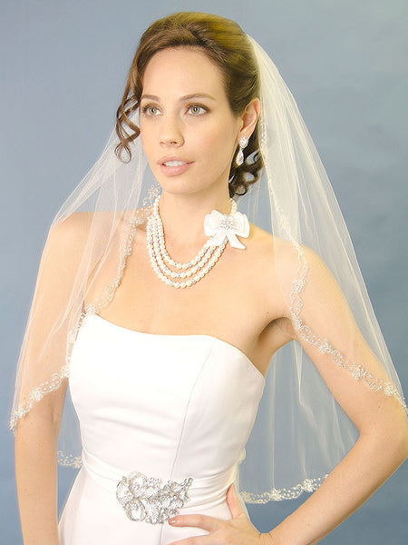 Beaded Veil, Silver Beads, Crystal Flowers - Ansonia Bridal Veils 971