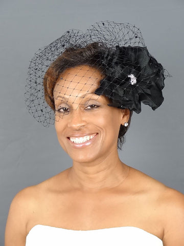 Black Birdcage Veil with Ornamented Silk Flower