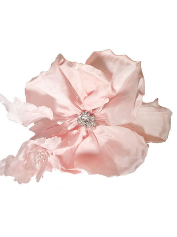 Pink Blush Hair Flower Silk Wedding Comb - Distinctive Veils & Accessories