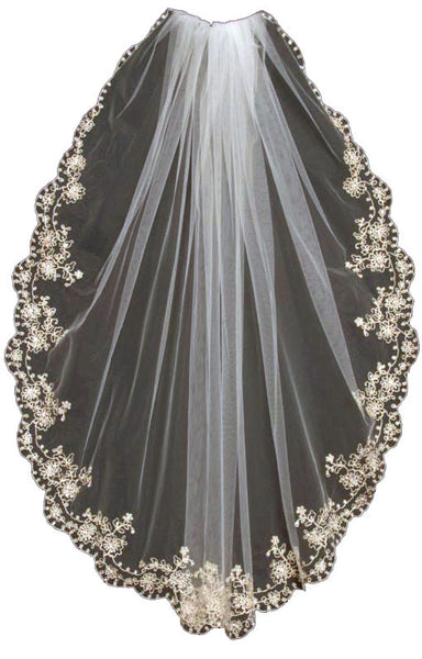 Embroidered Wedding Veil, Pewter Scrolling Floral