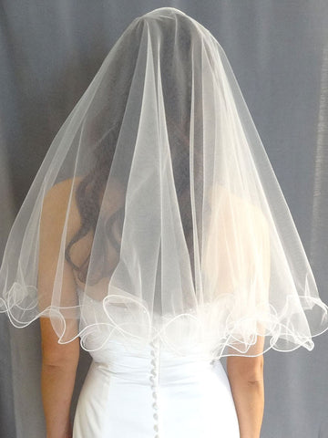 Curly Trim Wedding Veil - Distinctive Veils & Accessories