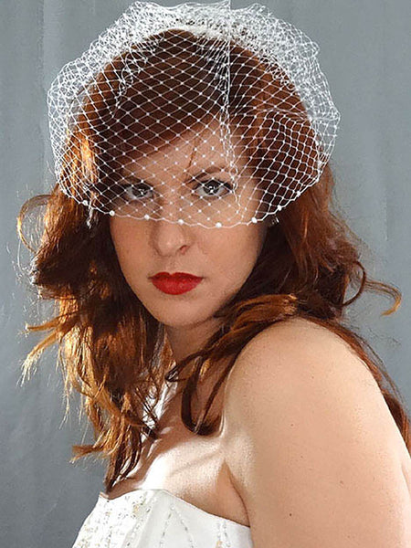 """Gemma"" - Short Bird Cage Veil with Flat back Pearls - Distinctive Veils & Accessories"