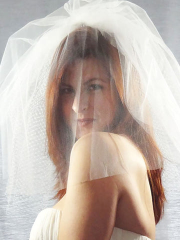 Net and Tulle Long Birdcage Veil - Distinctive Veils & Accessories