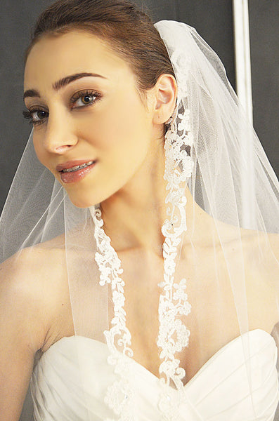 Embroidered Lace Veil - Elena Designs E1146