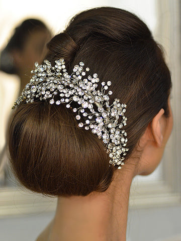 All Stone Cluster Bridal Headband