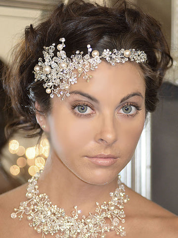 Crystal Sprig and Pearl Wedding Headpiece - Distinctive Veils & Accessories
