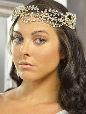 Looping Crystal and Rhinestone Wedding Headpiece - Distinctive Veils & Accessories