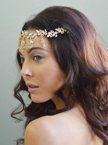 Leafy Gold and Crystal Drop Forehead Wedding Piece - Distinctive Veils & Accessories