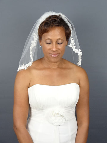 Ivory Lace Veil with Beaded Floral Leaf Motif - Distinctive Veils & Accessories