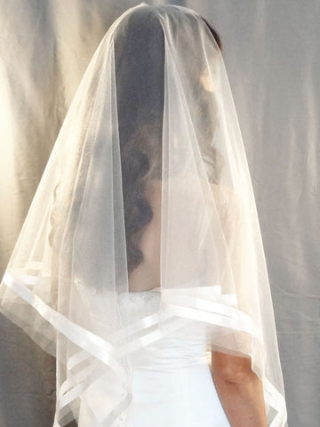 Modern Handkerchief Veil with Ribbon Accent - Distinctive Veils & Accessories
