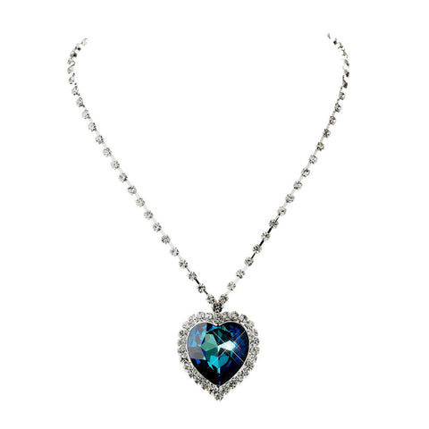 Blue Crystal Heart Wedding Necklace