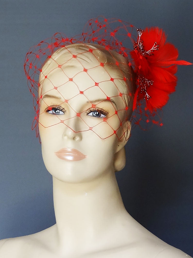 Red Birdcage Veil with Feather Fascinator - Distinctive Veils & Accessories