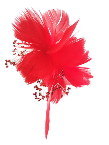 Red Feather Hair Flower Comb - Distinctive Veils & Accessories