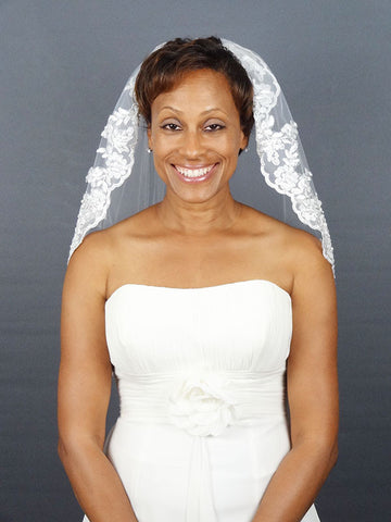 Short Lace Veil with Silver Lined Leafy Floral Style
