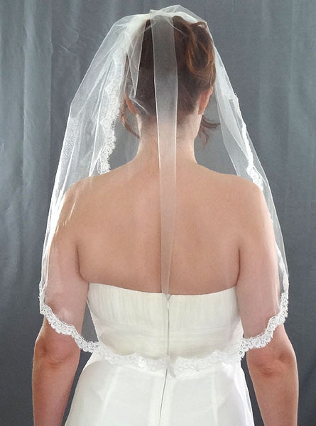 Narrow Alencon Lace Wedding Veil - Distinctive Veils & Accessories