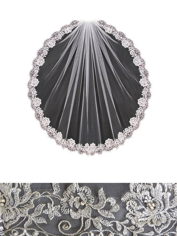 Embroidered Lace Veil, Floral with Pearls and Rhinestones - V1391