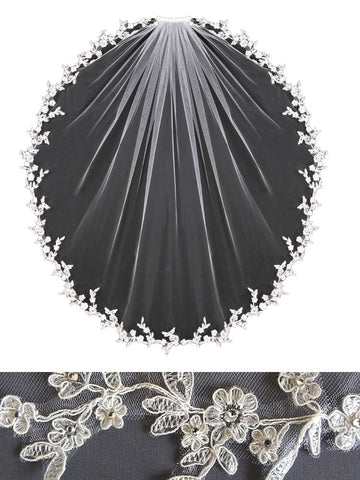"Embroidered Lace Edge Veil, 2""W Floral Leaf, Rhinestones - V1392"