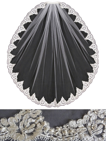 Embroidered Lace Veil, Floral Scallop, Rhinestones - V1393
