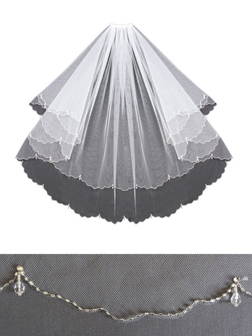 Beaded Edge Veil, Modern Scallop, Crystal Drops - V1399
