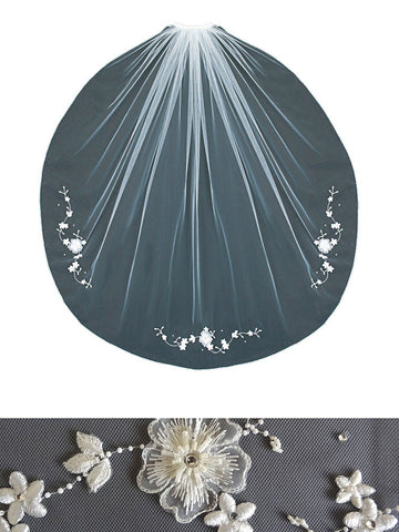Beaded Veil with Embroidered Floral Vine