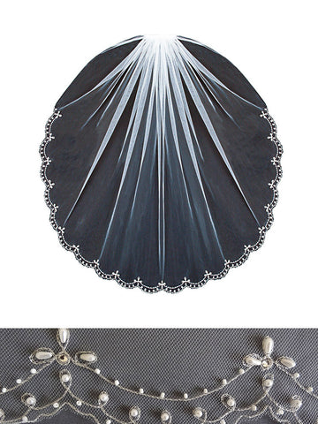Beaded Edge Veil, Silver Scallop, Pearl Accents - V1492