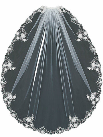 Silver 3D Flower Embroidered Wedding Veil - Distinctive Veils & Accessories