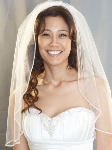 Silver Beaded Edge Veil - Distinctive Veils & Accessories