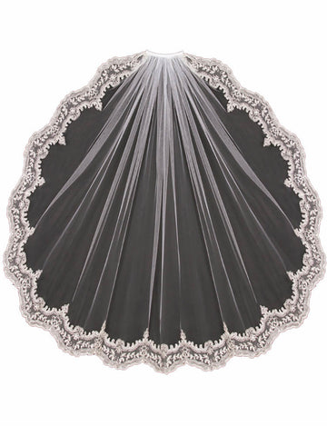 Silver Embroidered Wedding Veil - Distinctive Veils & Accessories