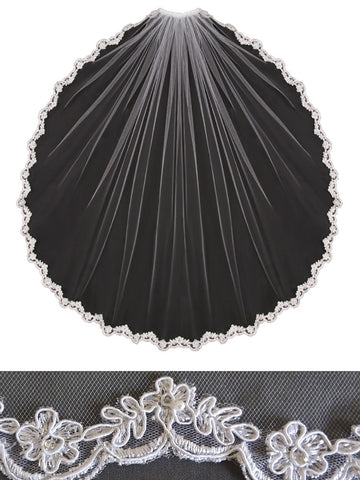 Lace Veil, Embroidered Flower Leaf - En Vogue Bridal Accessories V451