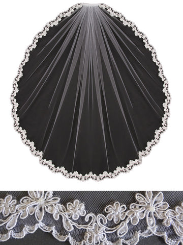 Lace Veil, Cut Out Scallop - En Vogue Bridal Accessories V452