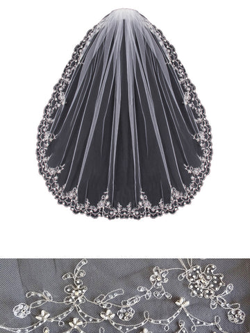 Beaded Embroidered Veil, Scallop Vine - En Vogue Bridal Accessories V453