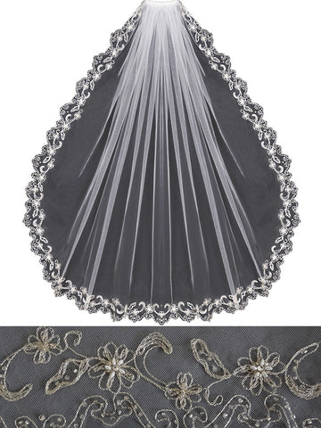 Beaded Embroidered Veil, Gold or Silver - En Vogue Bridal Accessories V455
