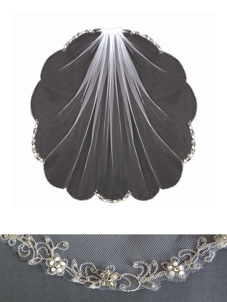 Embroidered Veil, Alternate Scallop Design - En Vogue Bridal Accessories V500