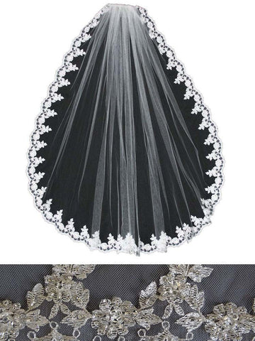 Beaded Lace Veil, Embroidered Scallop Leaf - En Vogue Bridal Accessories V552