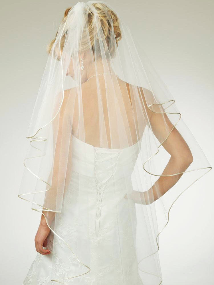 Waterfall Veil with Satin Cord Edge - Distinctive Veils & Accessories