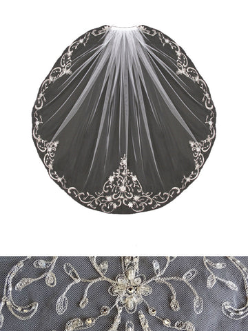 Ornate Beaded Embroidered Veil - Distinctive Veils & Accessories