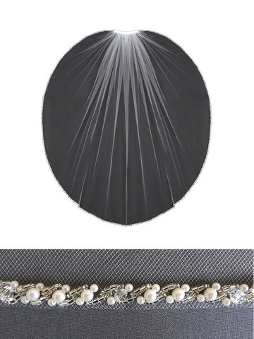Beaded Edge Veil, Pearls, Bugle Beads, Crystals - V802