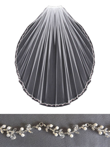 Beaded Edge Wedding Veil, Pearls, Silver Beads, Rhinestones - V803