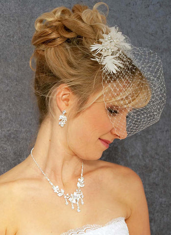 Birdcage Veil with Spikey Feather Detail