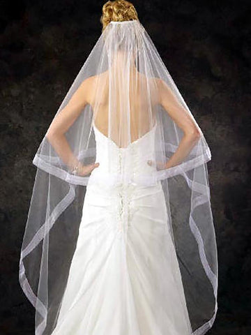 Wide Sheer Ribbon Edge Wedding Veil - Distinctive Veils & Accessories